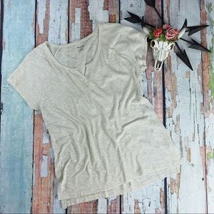 Madewell Tee Striped Beige Split Neck Shirt New